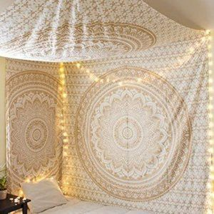 Gold XL Queen Size Cotton Wall Tapestry NEW